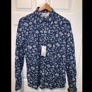NWT Mango Slim Fit Flower Print Shirt